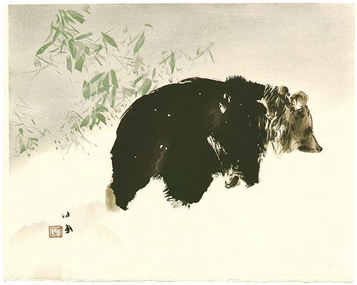 Takeuchi Seiho Bear in Snow