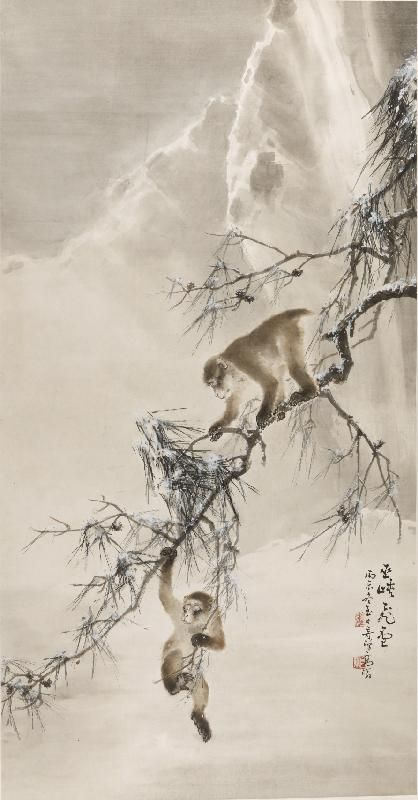 gao-qifeng-monkeys-and-snowy-pine-1916