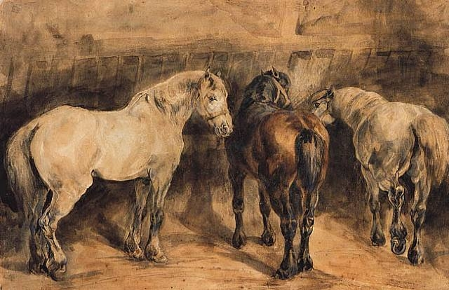 gericault-three-horses-in-their-stable