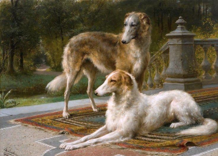 Otto Eerelman 1839- Borzois on Terrace