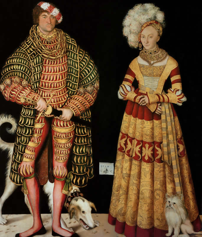 """Lucas Cranach, """"Portraits of Henry the Pious, Duke of Saxony and his wife Katharina von Mecklenburg,"""" 1514"""